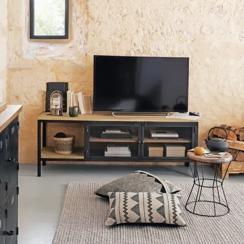 meuble tv indus en metal noir et manguier massif maisons du monde