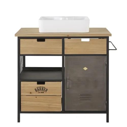 meuble vasque 3 tiroirs 1 porte en sapin et metal maisons du monde