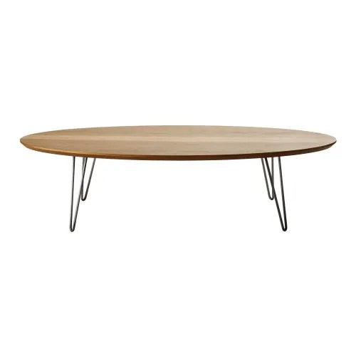 oval coffee table with grey metal legs maisons du monde