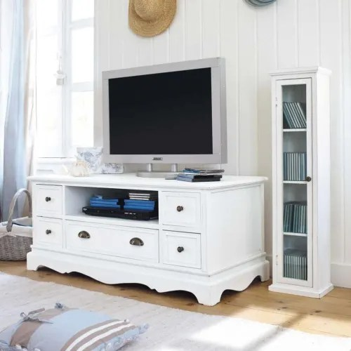 Mobile tv a 2 ante scorrevoli germain su maisons du monde. Paulownia Wood Tv Unit In White Josephine Maisons Du Monde