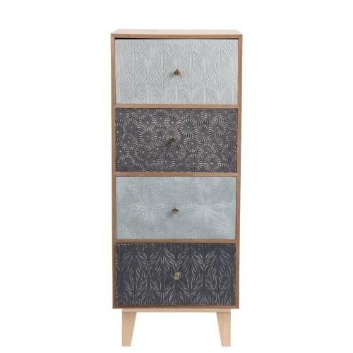 petit meuble de rangement 4 tiroirs a motifs graves maisons du monde
