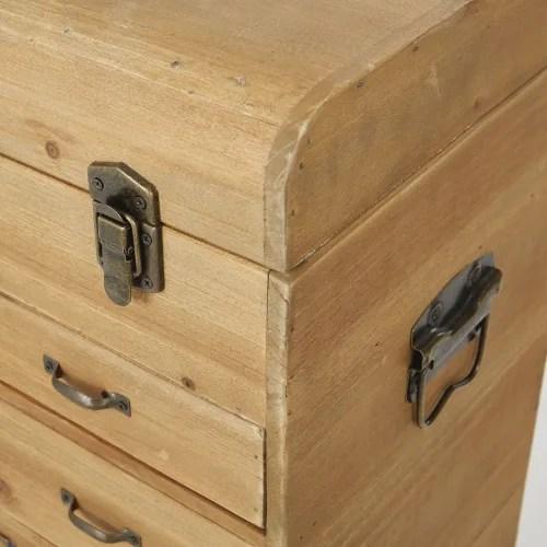 petit meuble de rangement coffre 6 tiroirs en sapin maisons du monde