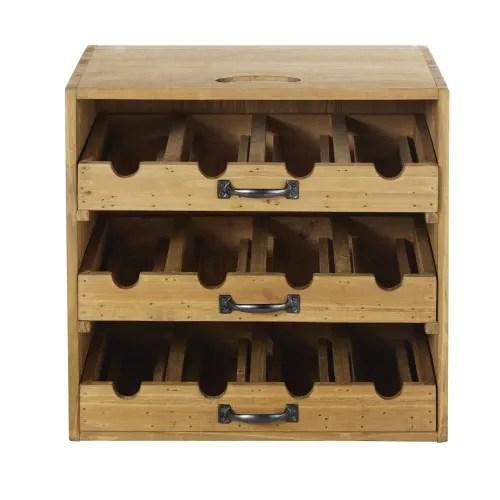 porte bouteilles 3 tiroirs en sapin maisons du monde