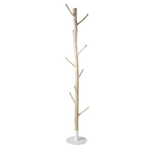 porte manteau tronc d arbre en eucalyptus et metal blanc maisons du monde