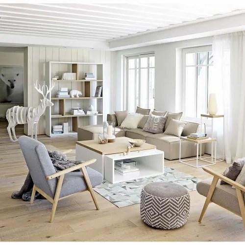 pouf en coton gris blanc maisons du monde