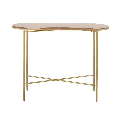 Powder Pink and Gold Metal Console Table
