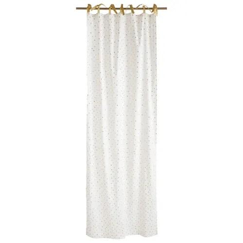 rideau a nouettes en coton blanc a pois dores a l unite 102x250 maisons du monde