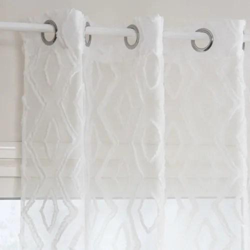 rideau a œillets blanc motif graphiques a l unite 140x250 maisons du monde