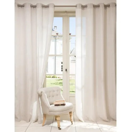rideau a œillets en coton et lin beige a l unite 140x250 maisons du monde