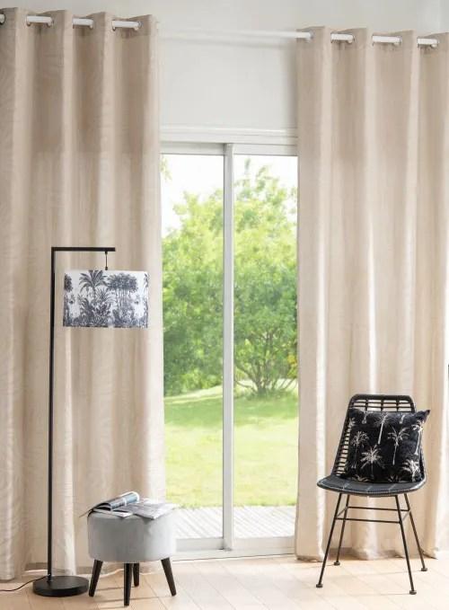 rideau a œillets en coton et lin tisse jacquard beige a l unite 125x270 maisons du monde