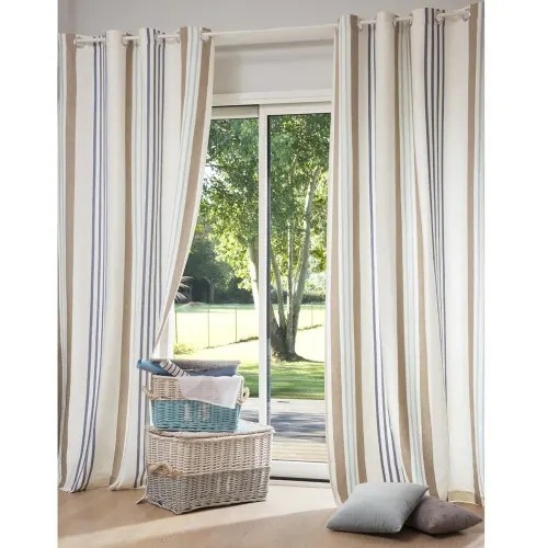 rideau a œillets en coton motifs a rayures a l unite 140x250 maisons du monde
