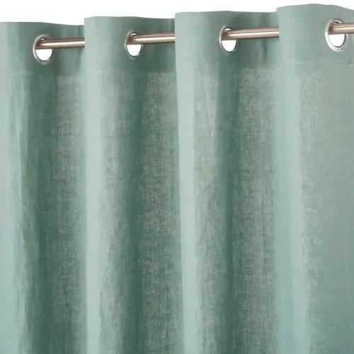 rideau a œillets en lin lave vert de gris a l unite 130x300 maisons du monde