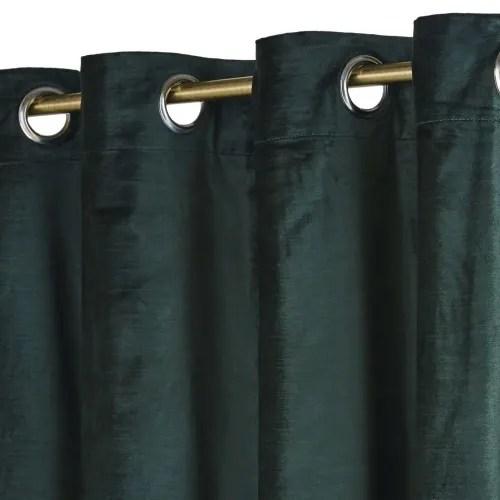 rideau a œillets en velours vert pin a l unite 140x300 maisons du monde