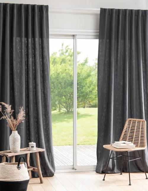 rideau a passant en coton et ramie gris anthracite a l unite 135x270 maisons du monde