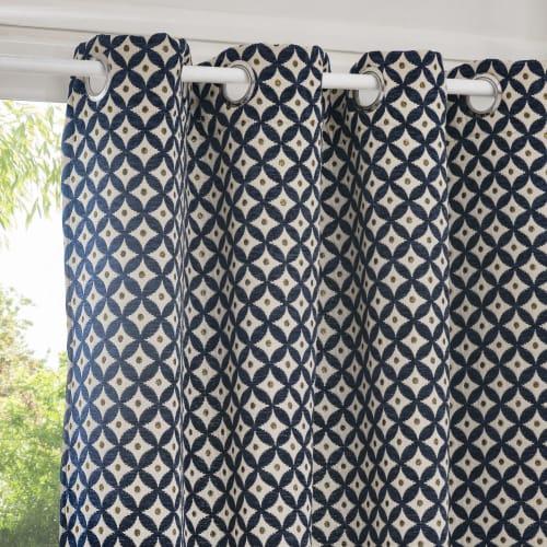 rideau bleu motifs graphiques a l unite 140x250 maisons du monde