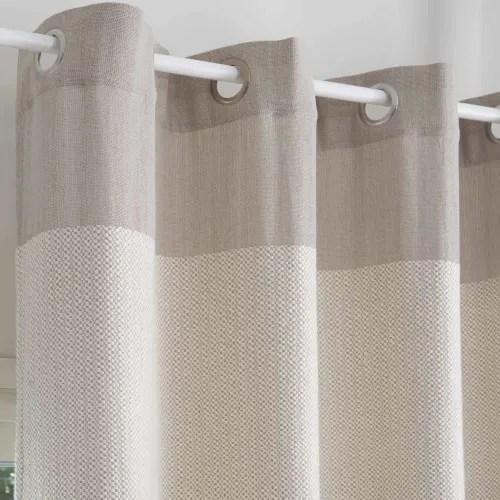 rideau en coton tisse jacquard ecru et taupe a l unite 140x250 maisons du monde