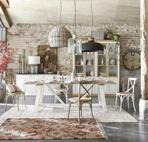 Set di tavolo con 4 sedie alte per arredare l'esterno. Sedia Bistrot In Rattan E Betulla Tradition Maisons Du Monde