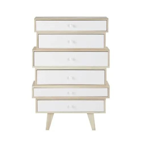 semainier style scandinave 6 tiroirs en paulownia blanc maisons du monde