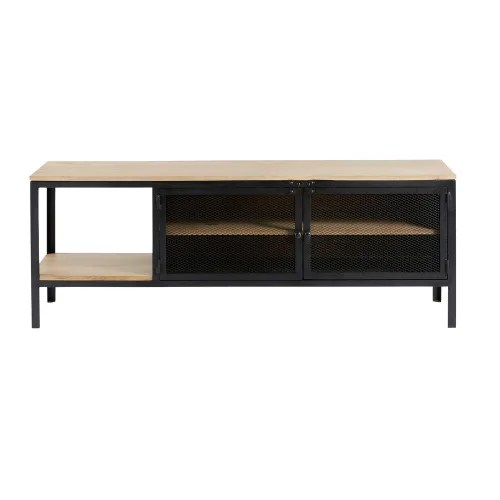 solid mango wood and black metal industrial tv cabinet maisons du monde