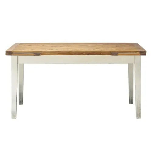 solid poplar extending dining table l 160 maisons du monde