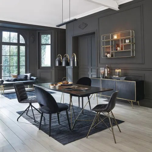 table a manger 4 6 personnes en acacia noir et metal dore l197 maisons du monde