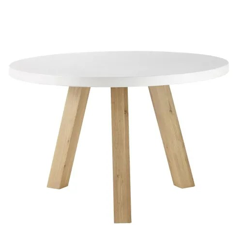 table a manger 5 6 personnes en beton blanc et chene d120 maisons du monde