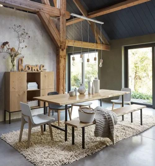 table a manger 8 personnes en chene massif et metal noir maisons du monde