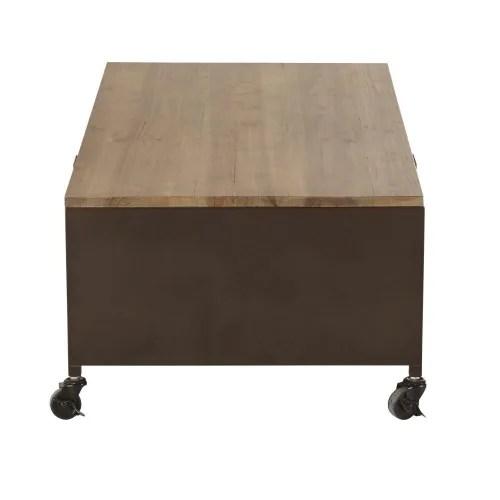 table basse a roulettes en metal et sapin maisons du monde