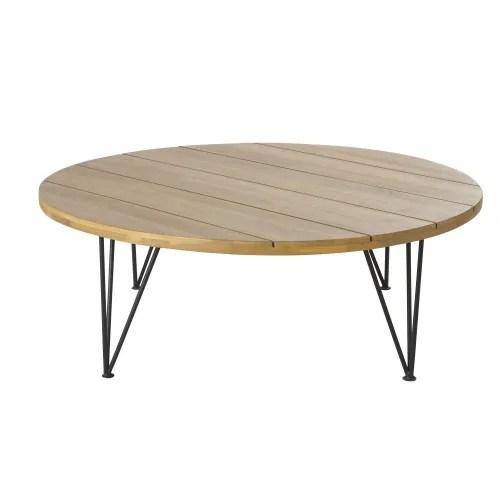 table basse de jardin en acacia massif et metal noir maisons du monde
