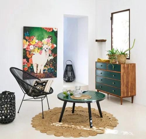 table basse de jardin en mosaique verte maisons du monde