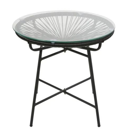 table basse de jardin en resine noire et verre maisons du monde