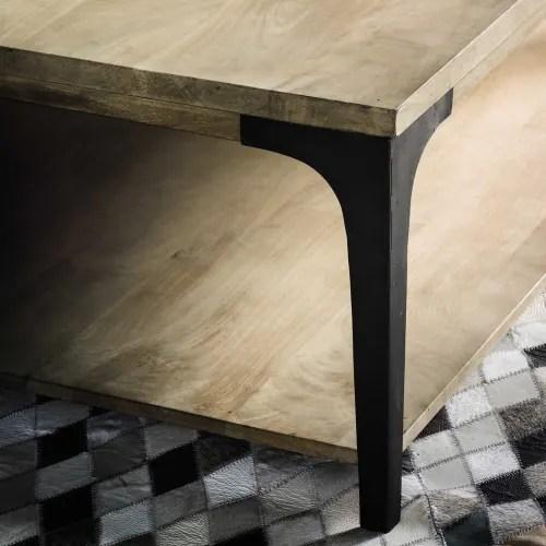 table basse en manguier massif et metal maisons du monde