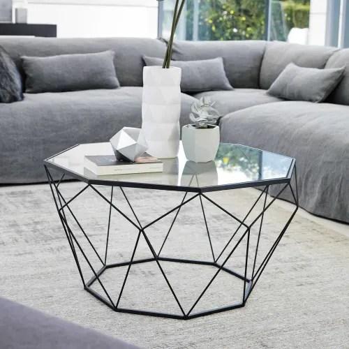 table basse en verre trempe et metal noir maisons du monde