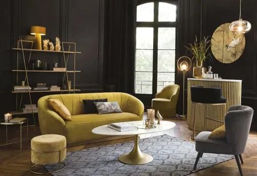 table basse ovale en marbre blanc et metal coloris laiton maisons du monde
