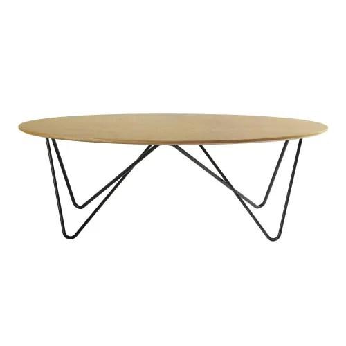 table basse ovale pieds en metal noir maisons du monde