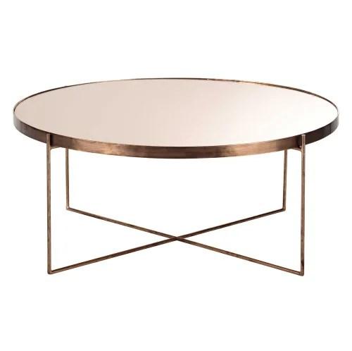 table basse ronde avec miroir en metal cuivre maisons du monde