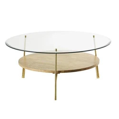 table basse ronde en verre trempe et manguier massif maisons du monde