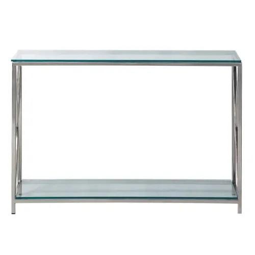 table console en acier et verre chromee l 119 cm maisons du monde