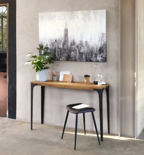 table console en metal et manguier massif l 120 cm maisons du monde