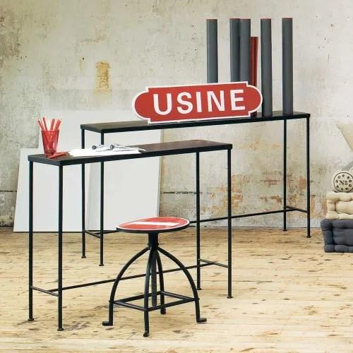 table console indus en metal noire l 90 cm maisons du monde