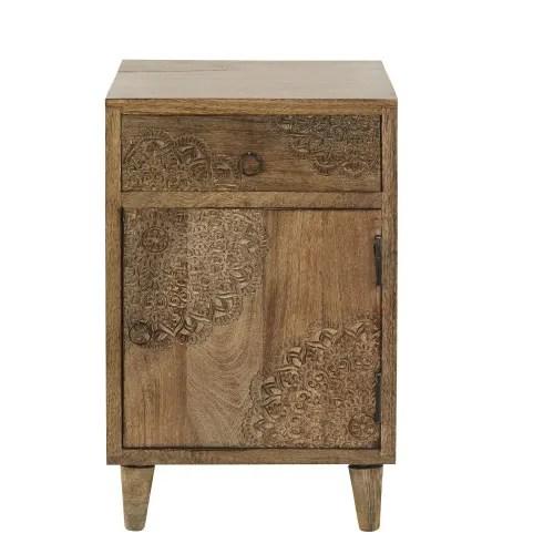 table de chevet 1 porte 1 tiroir en manguier massif sculpte maisons du monde