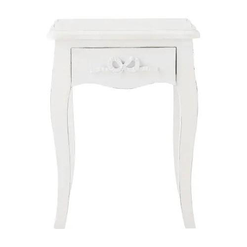table de chevet avec tiroir en bois blanc l 40 cm maisons du monde