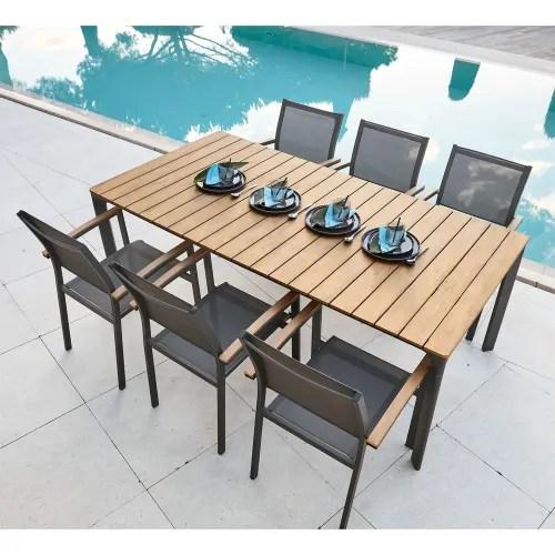 table de jardin 6 8 personnes en composite et aluminium l200 maisons du monde