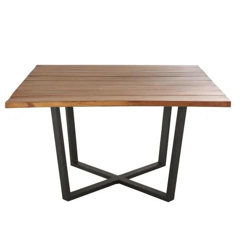 table de jardin carree en acacia 8 personnes l130 maisons du monde