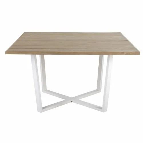 table de jardin carree en acacia massif et metal blanc 8 personnes l130 maisons du monde