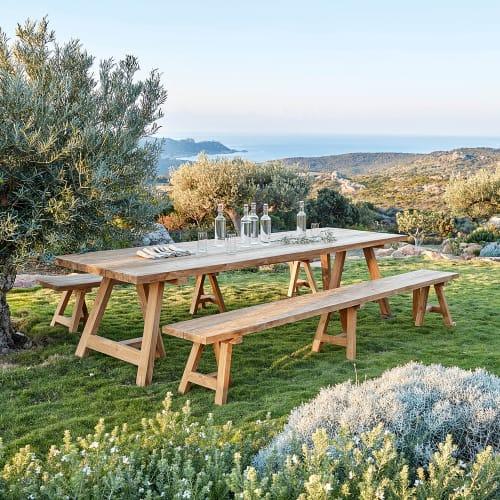 table de jardin en teck recycle 12 14 personnes l300 maisons du monde