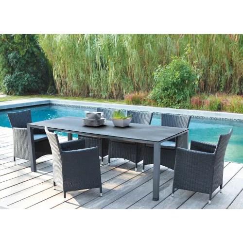 table de jardin en verre trempe et aluminium anthracite l 220 cm maisons du monde