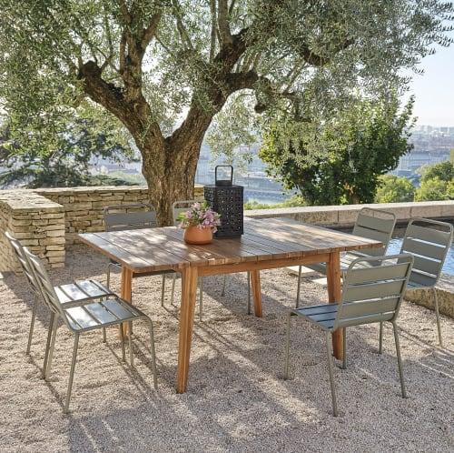 table de jardin extensible carree en acacia massif 6 8 personnes l120 160 maisons du monde