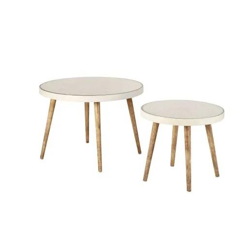tables gigognes blanches motifs graves et verre maisons du monde