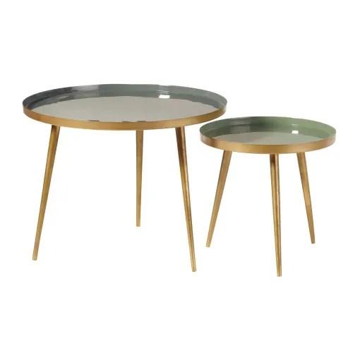 tables gigognes en metal vert et dore maisons du monde